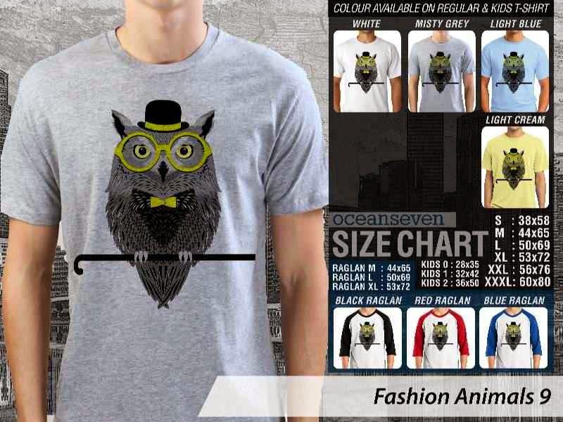 Kaos Fashion Animals 9 Binatang Burung Hantu Owl distro ocean seven