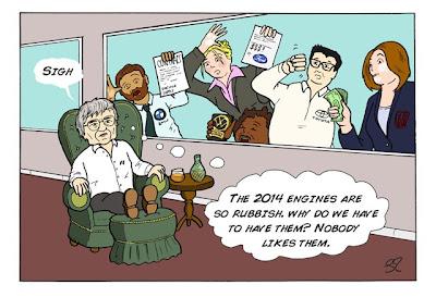 Берни Экклстоун задумывается насчет моторов 2014 - комикс Stuart Taylor