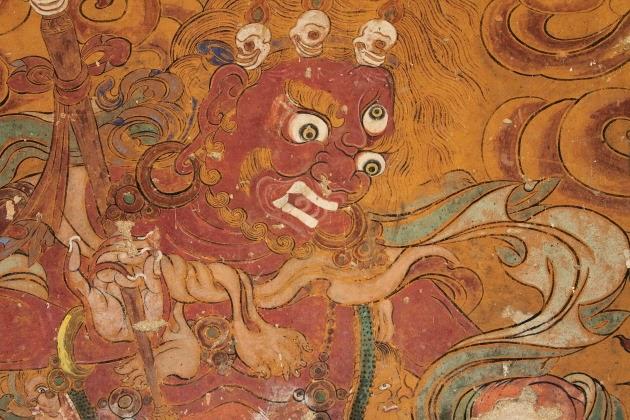 Colourful mural inside Tamshing Monastery, Bhutan