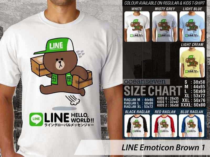 KAOS IT LINE Emoticon Brown 1 Social Media Chating distro ocean seven