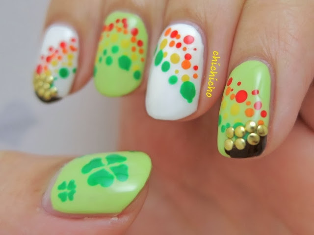 St. Patrick's Day Rainbow Pot of Gold Nail Art