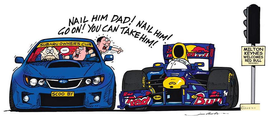 болельщики Subaru из Милтон-Кинс на светофоре вместе с Себастьяном Феттелем на Red Bull - комиксы Jim Bamber