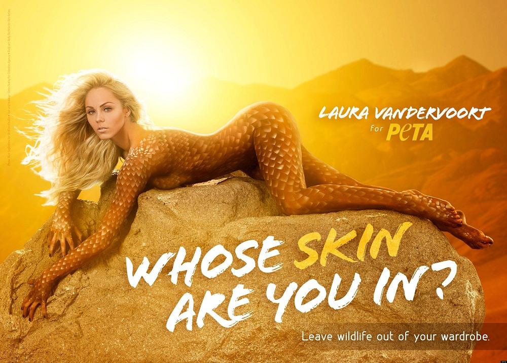 Laura Vandervoort the Newest PETA Celebrity Print Ad