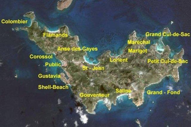 Mapa de playas San Bartolome St Barts