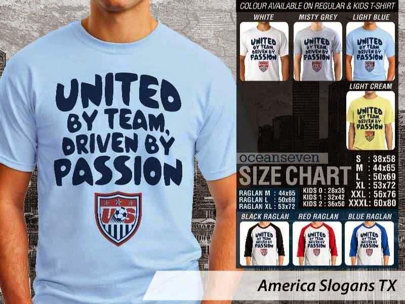 Jual Kaos Bola America Slogans TX distro ocean seven
