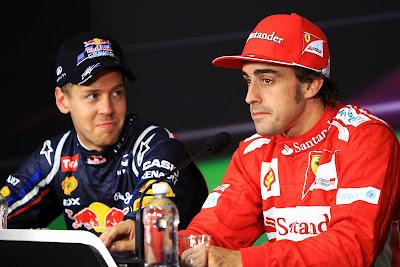 Себастьян Феттель и Фернандо Алонсо на пресс-конференции после квалификации на Гран-при Канады 2012