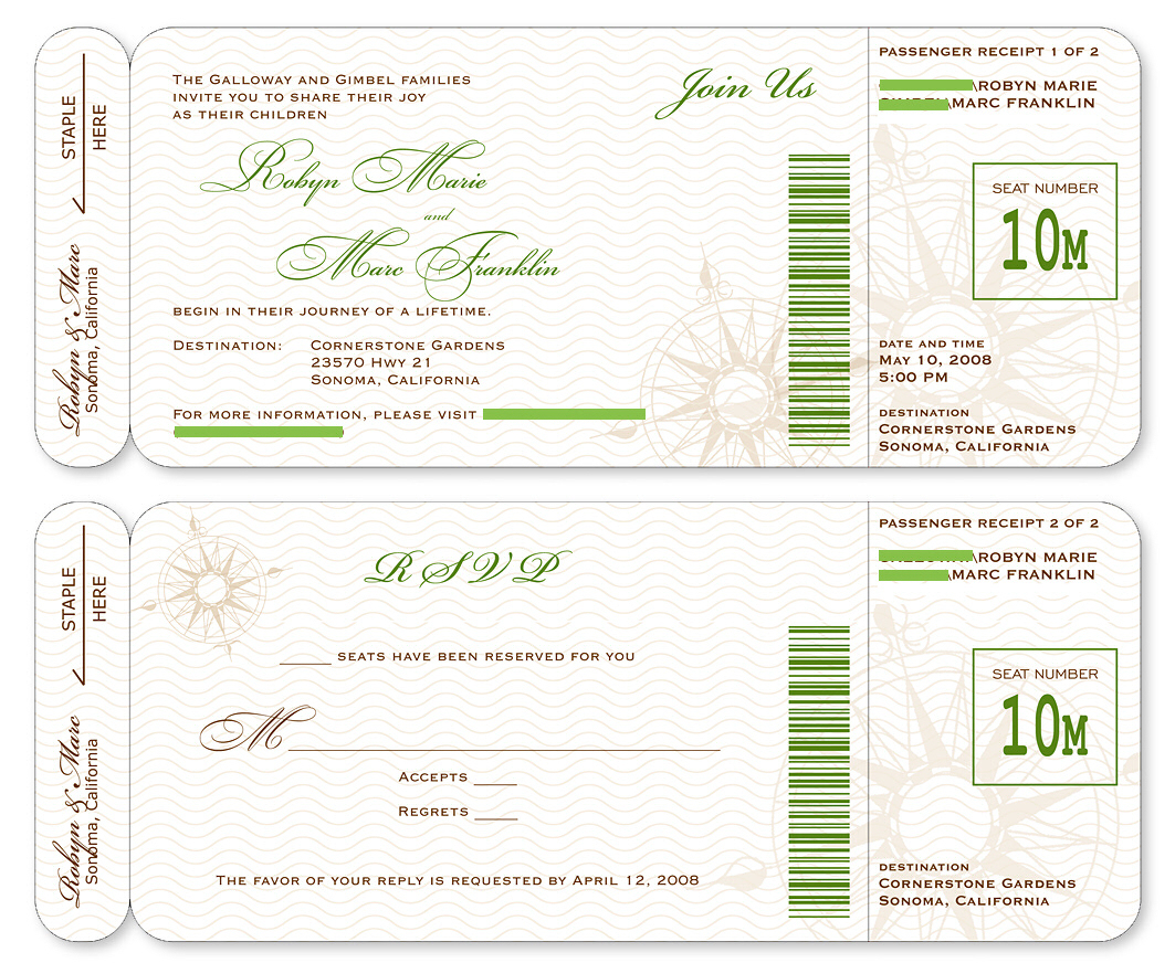 Good Boarding Pass Invitation Template Boarding Pass Wedding  Free Pass Template