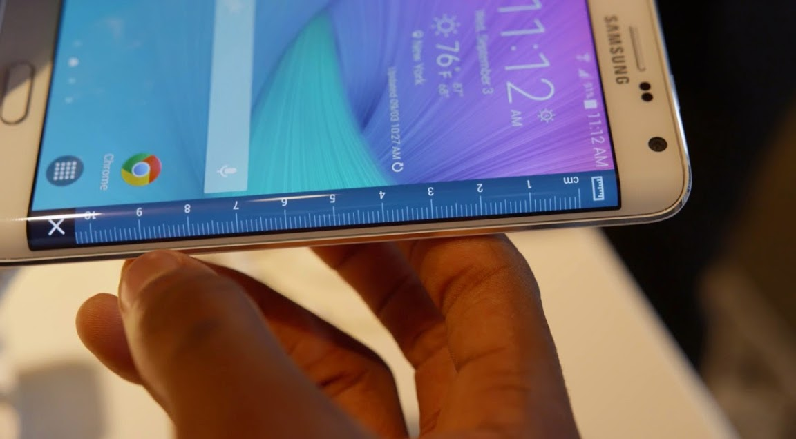 Samsung Galaxy Note Edge with ruler