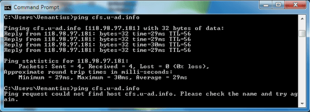 Test ping ke domain yang sudah diblokir di router