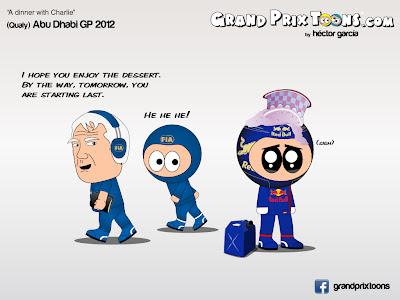 Чарли Уайтинг и Себастьян Феттель после квалификации на Гран-при Абу-Даби 2012 - комикс Grand Prix Toons