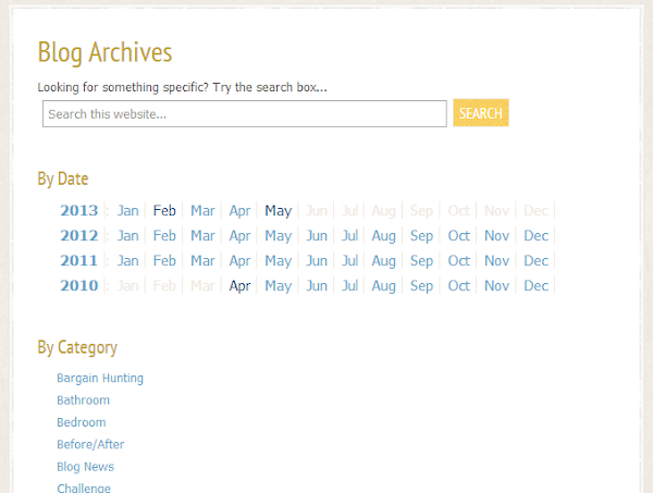 customized archives page by date and category with search