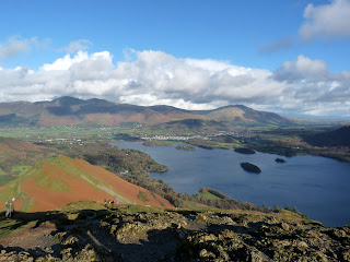 Skiddaw and Blencathra from Catbells summit.