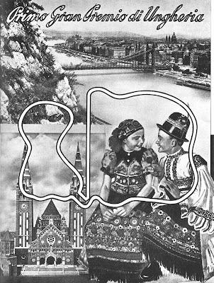 черно-белый постер Гран-при Венгрии 1936 года