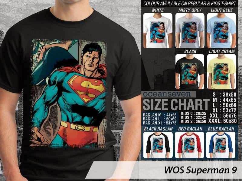 Kaos Superman Hitam 9 Movie Series distro ocean seven