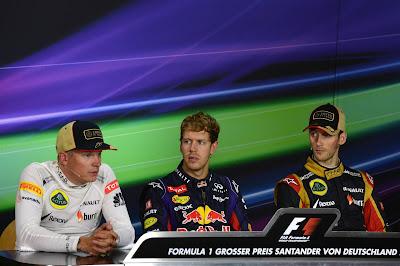 Кими Райкконен, Себастьян Феттель и Ромэн Грожан на пресс-конференция в воскресенье на Гран-при Германии 2013