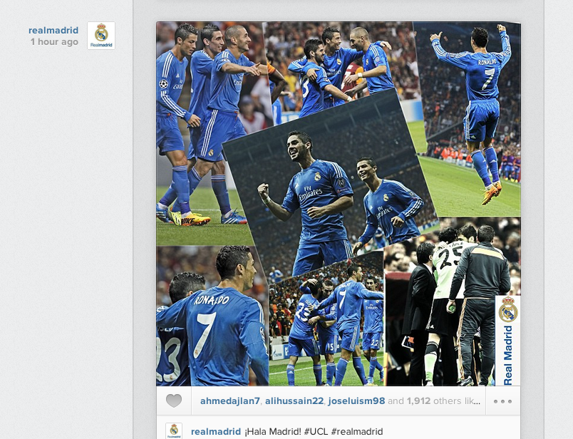 Screen+Shot+2013 09 18+at+01.26.25 Real Madrid post Instagram picture celebrating 6 1 win at Galatasaray