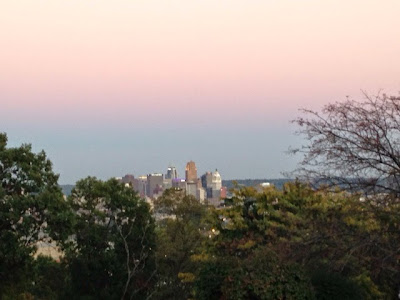 pink and blue Cincinnati skyline