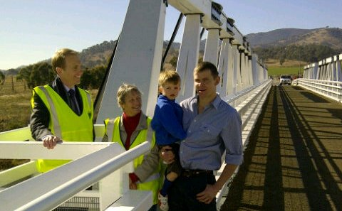 Simon Corbell at tharwa bridge