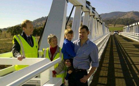 Simon Corbell at tharwa bridge