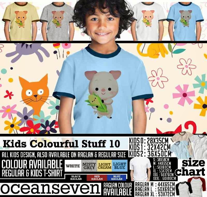 Kaos anak Kids Colourful 10 Lucu Gambar Pig Babi distro ocean seven