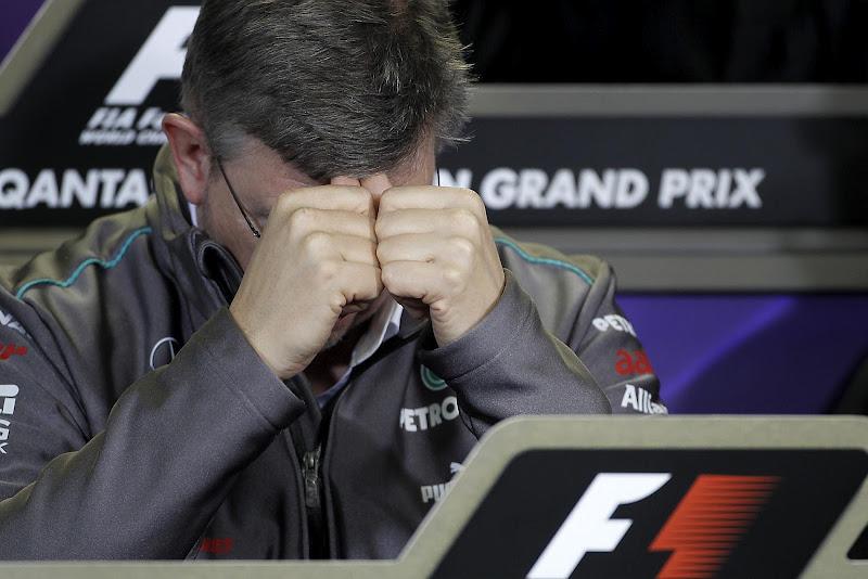 Росс Браун на пресс-конференции на Гран-при Австралии 2012