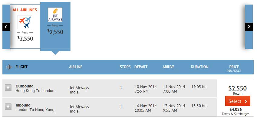 香港去倫敦 HKD$2,550起($6,576連稅)