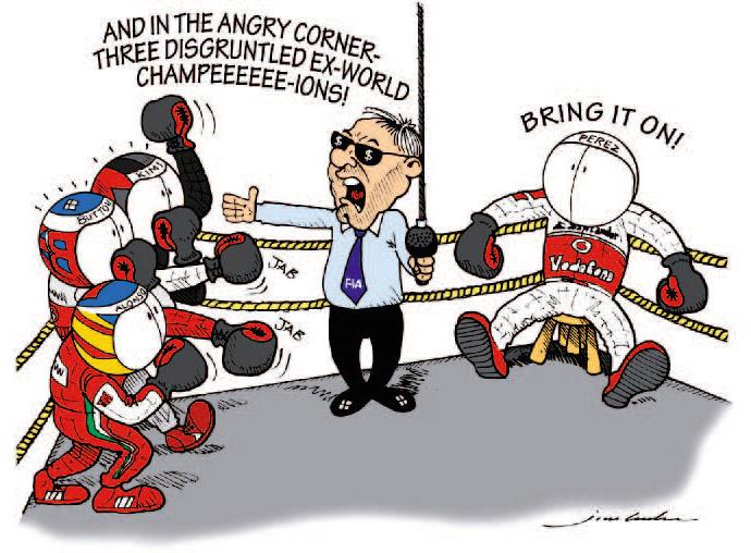 Серхио Перес против трех чемпионов на ринге Монте-Карло - комикс Jim Bamber по Гран-при Монако 2013