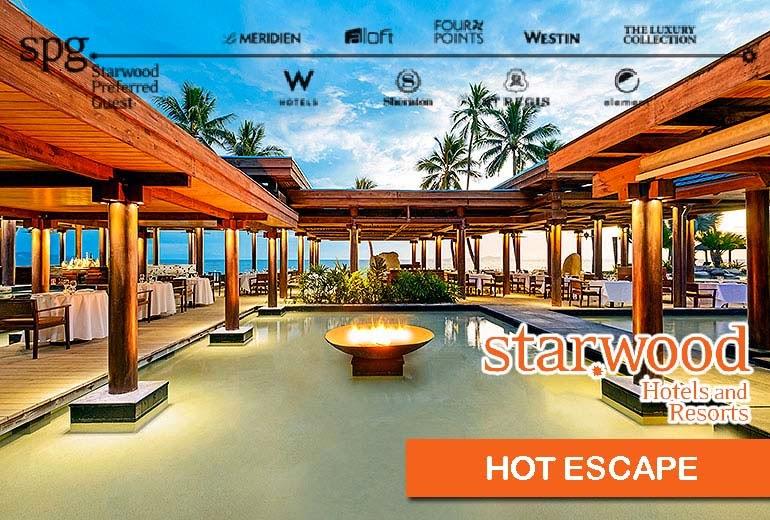Starwood喜達屋【Hot Escape】 Sheraton喜來登、Westin威斯汀、W Hotel、St. Regis瑞吉等酒店,未來6週住宿低至42折,只限3日訂購,至12月13日止!