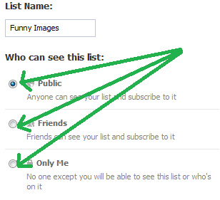 Select privacy on your interest lists in Facebook