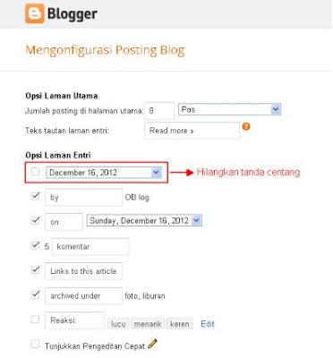 konfigurasi tanggal header