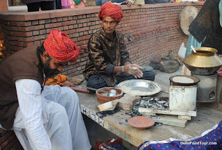 Preparing Rajasthani food, India.