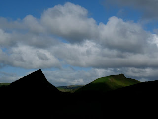 Parkhouse Hill in silhouette and Chrome Hill in the sun