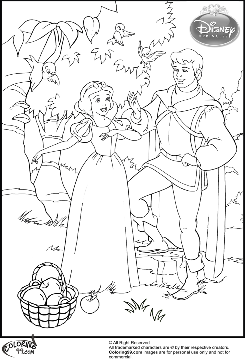 Kids-n-fun 34 coloring pages of Snow White