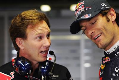 Кристиан Хорнер и Марк Уэббер с забавными лицами на Гран-при Италии 2011 в Монце