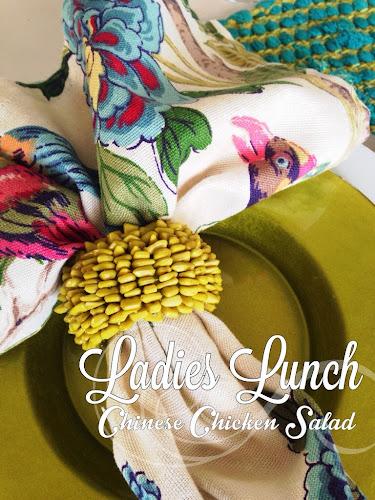 Ladies lunch Chinese chicken salad, lime green, bow tie pasta spinach chicken salad