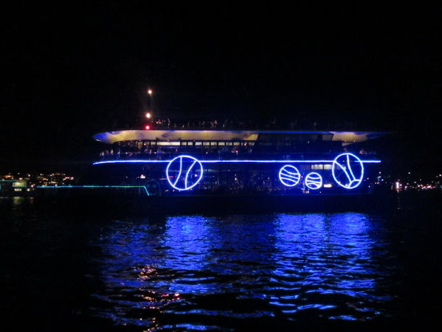 "One of the boats lit up for the ""parade of lights""."