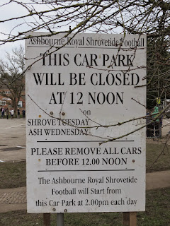 Ashbourne Shrovetide Notice on the Shaw Croft Car Park