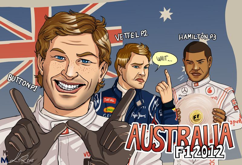 Дженсон Баттон Себастьян Феттель Льюис Хэмилтон Альберт-Парк подиум палец карикатуры Yelaeve Гран-при Австралии 2012