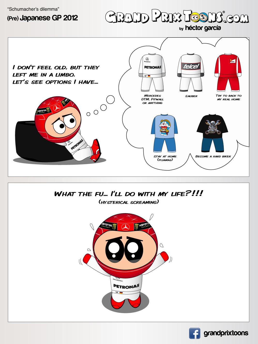 Михаэль Шумахер размышляет о будущем - комикс Grand Prix Toons