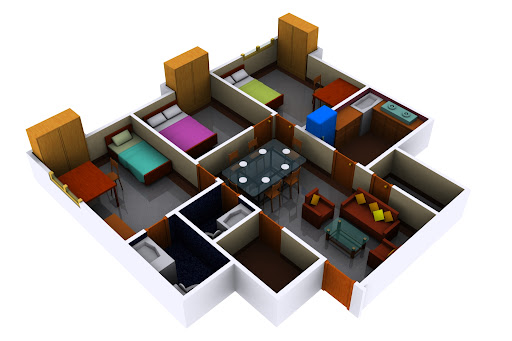 3d view of flat