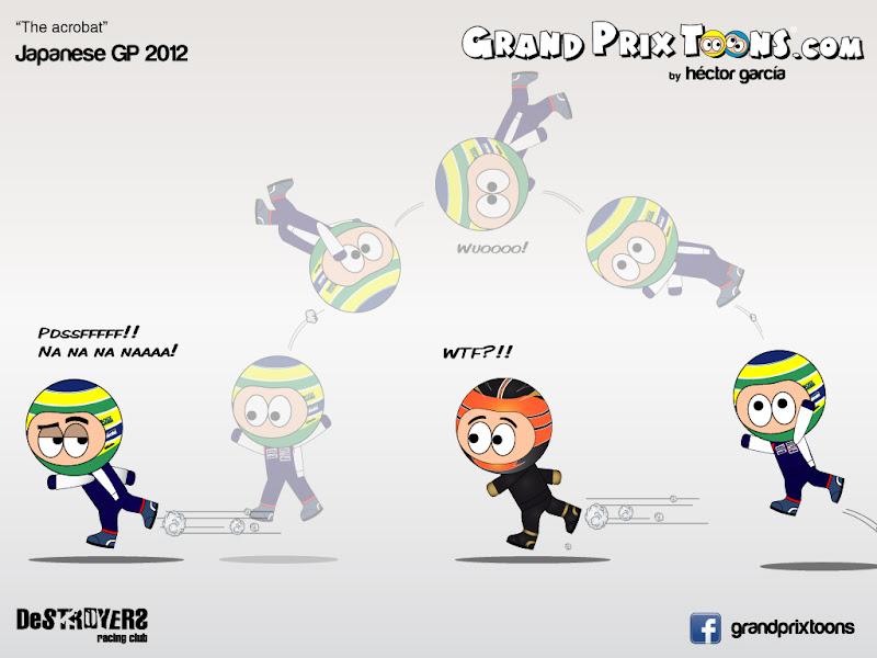 Бруно Сенна оказывается позади Ромэна Грожана на Гран-при Японии 2012 - комикс Grand Prix Toons