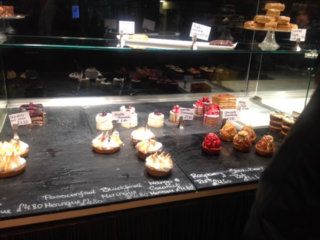 The dessert selection in the window of L'Eto Caffe in London