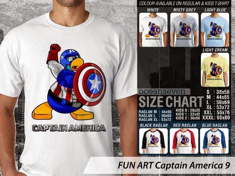 KAOS Captain America 9 Kartun Lucu distro ocean seven