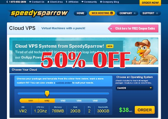 Get 50% Off your VPS Hosting for 3 Months with SpeedySparrow.com