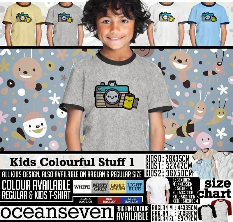 Kaos anak Kids Colourful 1 Lucu Gambar Camera Kamera distro ocean seven