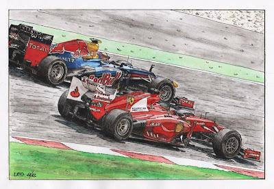 Фернандо Алонсо и Марк Уэббер Ferrari Red Bull 2012 by Leotrek