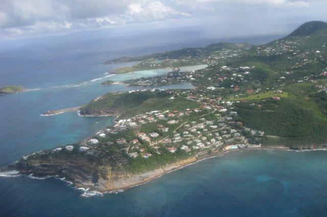 Vista aerea de la isla de San Bartolome St Barts