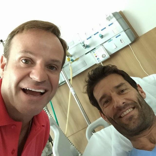 Рубенс Баррикелло посещает Марка Уэббера в госпитале - декабрь 2014