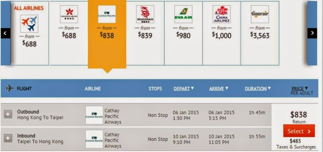 香港往返台北、高雄,每人需$838(連稅$1,321)。