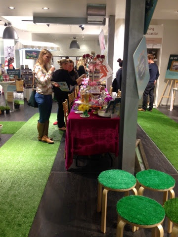The beauty showcase featuring faux grass